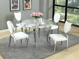 used dining room sets silver round glass dining tables with white leather cushions dining chairs used