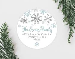 Winter Snowflake Holiday Address Labels Cute Silver Faux Glitter Snow Christmas Card Address Labels Round 2 Inch Return Address Labels