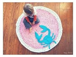 kids circle rug nautical nursery rug custom crochet crab rug cotton pink teal and white round