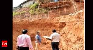 altinho retaining wall at altinho hillside to arrest landslides goa news times of india
