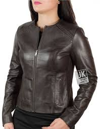 womens collarless brown leather jacket stretch side and sleeve panels front