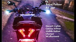 Bar End Lights For Pulsar Bajaj Pulsar Rs200 Modified I Hazard Lights I Handel Bar Light I Mobile Holder I 2018 I