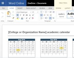 word powerpoint online 2016 2017 academic calendar template for word online