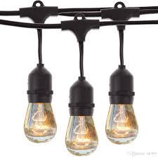 Vintage Plug In Lights 48ft14 8m Outdoor Vintage String Light With 15 Incandescent 5w E27 Clear Bulbs Black Plug In Cord Globe Light String Set Purple Led String Lights