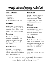 Housekeeping Schedule Chart Housekeeping Schedule Chores For Each Day Of The Week And Daily