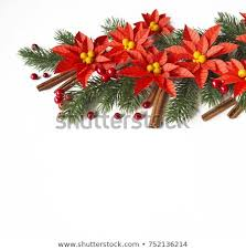 Paper Flower Branches Paper Flower Poinsettia Spruce Branches Christmas Stock Photo Edit