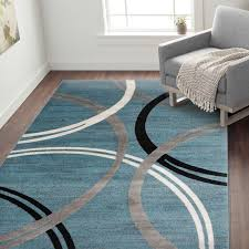 area rugs neal contemporary abstract circles design blue area rug