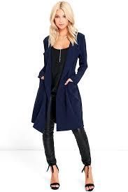 city sleek navy blue trench coat