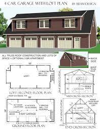 30685 58 X 28 4 Car Garage Plan With Loft  Behm Garage PlansBehm Four Car Garage House Plans