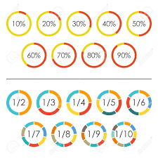 Circle Chart Set With Percentage And Pie Chart Set With 2 3 4 5 6 7 8 9 10