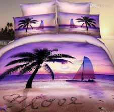 tropical sunset comforter set whole 3d purple beach palm tree bedding for queen size 8