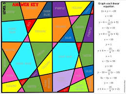 graphing linear equations mathematical artwork self checking includes 3 levels of difficulty for diffeiated