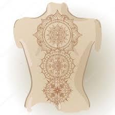 Mehndy цветы шаблон тату на спине векторное изображение Xarlyxa