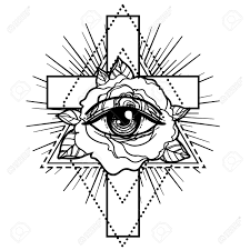 Rosicrucianism Symbol Blackwork Tattoo Flash All Seeing Eye
