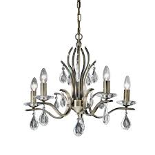 willow 5 light chandelier in a bronze finish with crystal glass drops franklite fl2299 5