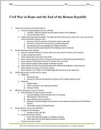 Civil War in Rome and the End of the Roman Republic - Printable Outline