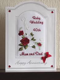 Ruby Wedding Anniversary Card Roses Scroll Design