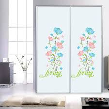 refrigerator decals. blue pink flowers wall stickers cabinet refrigerator window glass decor decals spring diy home applique poster nursery