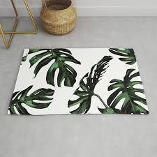 tropical green palm leaves rug