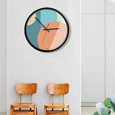 generic 12 inch home office room decorative metal frame mute non ticking round wall quartz clock