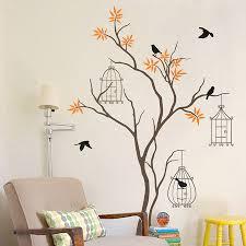 ... Yellow Chairs Books Orange Original Tree With Birds And Birdcage Wall  Decal Modern Lamp Parenttheis Elegance Birds Wall Art ...