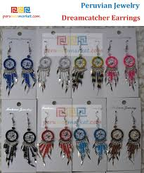 Dream Catchers Wholesale Dreamcatcher earrings chandelier handwoven in Peru Alpaca silver 30