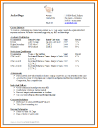 13 Create Resume Format For Freshers Grittrader