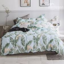 54 beige flowers and banana leaves printed 4 piece cotton bedding sets duvet cover