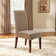 amazon sure fit stretch pinstripe shorty dining room chair slipcover cream sf39060 kitchen dining