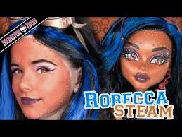 robecca steam monster high doll costume makeup tutorial for cosplay or emma shows you