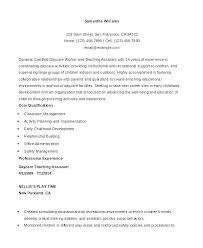 Teacher Assistant Resume Objective Daycare Teacher Resume Simple ...