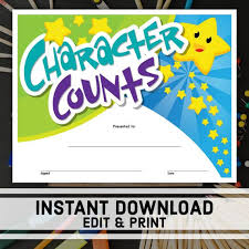 Download Award Certificate Templates Character Counts Certificate Instant Download Printable Award Editable Certificate Templates School Certificates Student Award