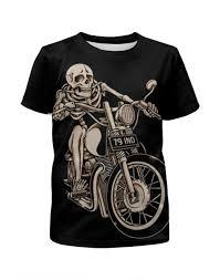 Футболка с полной запечаткой для девочек <b>Skeleton Biker</b> ...