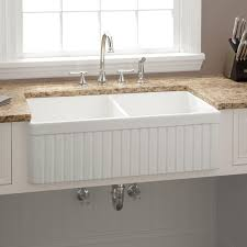33 baldwin double bowl fireclay farmhouse sink fluted a white