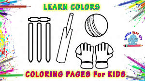 Cricket Bat Ball Stumps Drawing And Coloring How To Draw A Cricket