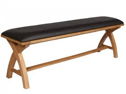 country oak cross leg leather indoor wooden dining bench  m long