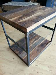 reclaimed hardwoods in a steel frame w glass shelf end table
