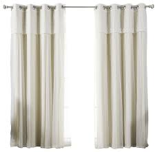 tulle sheer with attached valance and solid blackout curtains beige 84 contemporary