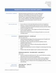 Warehouse Associate Resume Sample Fresh Packaging Technician Sample Resume Resume Sample 18