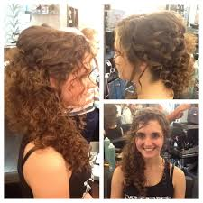 Natural Curly Hair Swept To The Side Wedding Hair By Joni Wedding Styles For Naturally Curly Hair