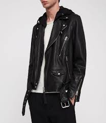 allsaints black renzo leather biker jacket for men lyst view fullscreen