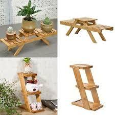 3tier wood plant stand flower pot holder garden display rack shelves step ladder