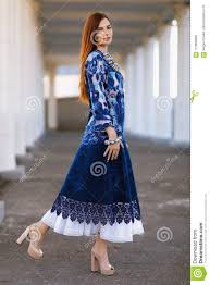 Girls Designer Outfits Stylish Beautiful Girl In Designer Clothes Stock Image
