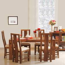 Solid wood dinning set Wood Rustic Foter Della Six Seater Dining Set In Brown Colour