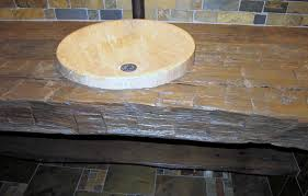 amazing single circled white stone sink over log wood top console rustic bathroom vanities as custom carpenter made bathroom furniture designs