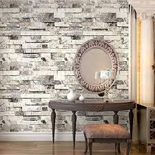HaokHome 91301 Modern Faux Brick Stone Textured Wallpaper Roll  Beige/Grey/Brown Brick Blocks Home Room Decoration 20.8