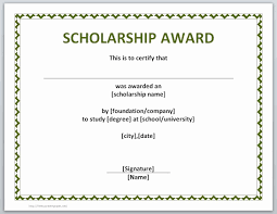 Scholarship Certificate Template Scholarship Award Certificate Template Wilkesworks