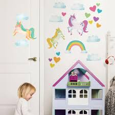 wallpops multi color one love unicorns wall decal