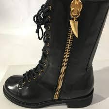 giuseppe zanotti black patent leather side zipper combat boots 39 5 nib
