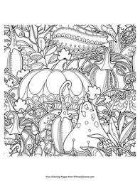 Small Picture Fall Coloring Page Pumpkin and Leaves Free printable Adult